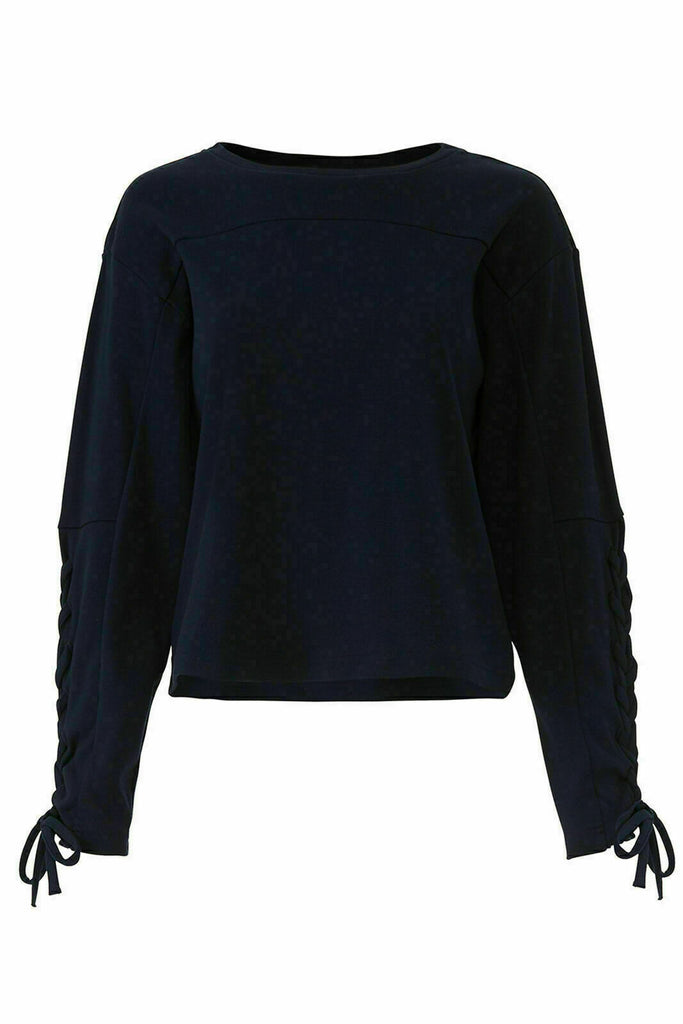 Blue Women's Sweater Medium Lace Up Crewneck-