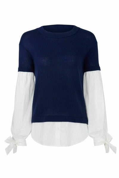 Blue Sweater Small Layered Look Pullover Knit-
