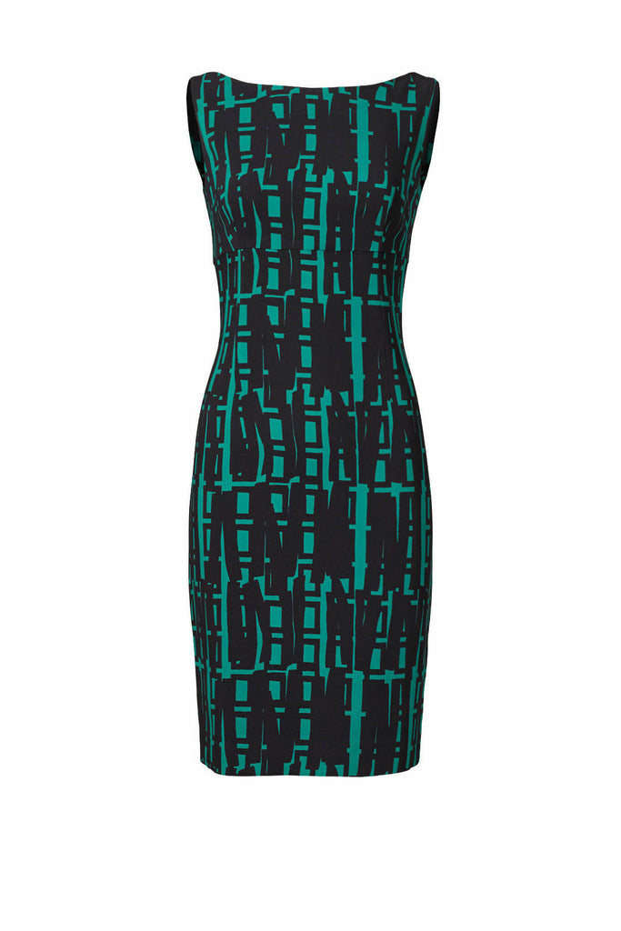 Women's Dress Green Sheath Boat Neck Graphic Print