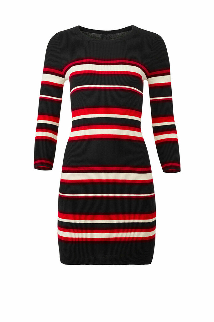 Women's Dress Black Medium Sweater Stripe Sheath $139-