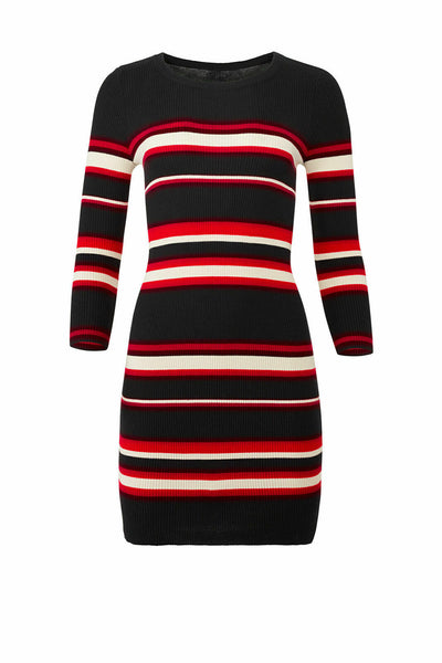 Dress Black Medium Sweater Stripe Sheath $139-