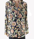 Women Blazer Black Medium Floral Two Button $174-