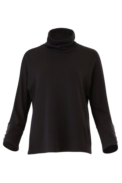 Sweater Black Medium Pyramid Stud Mock Neck Knit-