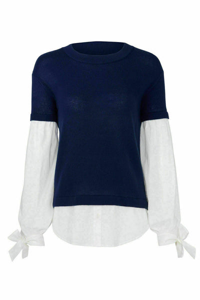 Blue Sweater Layered Look Pullover Knit Poplin-