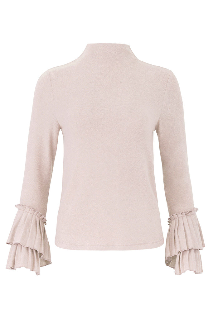 Pink Women's Small Mock Neck Knit Top-