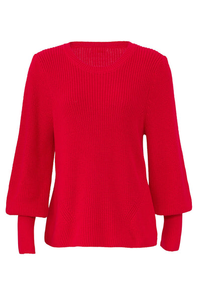 Sweater Red Small Knitted Crewneck Solid-