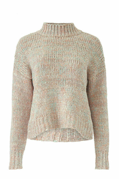 Sweater Beige Small Knit Mock Neck