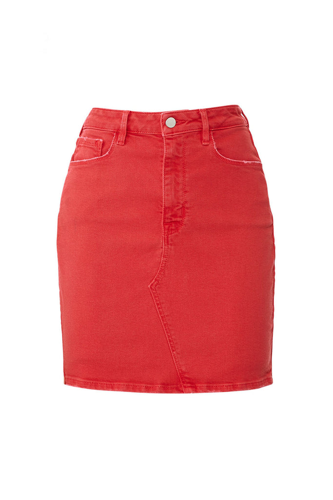 Women's Skirt Red Denim Front-Zip Straight Pencil-
