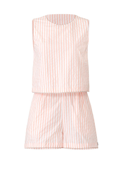 Romper White Medium Popover Stripe