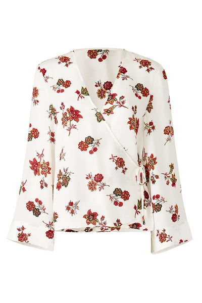 Blouse White Bell-Sleeve Wrap Floral Silk-