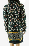 Dress Black Small Wrap Mosaic Print Long Sleeve-