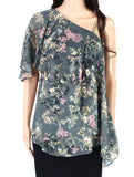 Womens Blouse Floral Draped Flutter Sleeve-