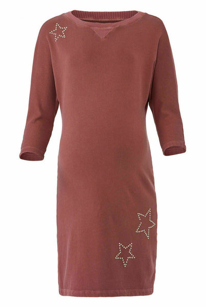 Womens Sweatshirt Dress Small Star Studded Crewneck