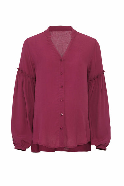 Blouse Purple Small Button-Front Maternity-