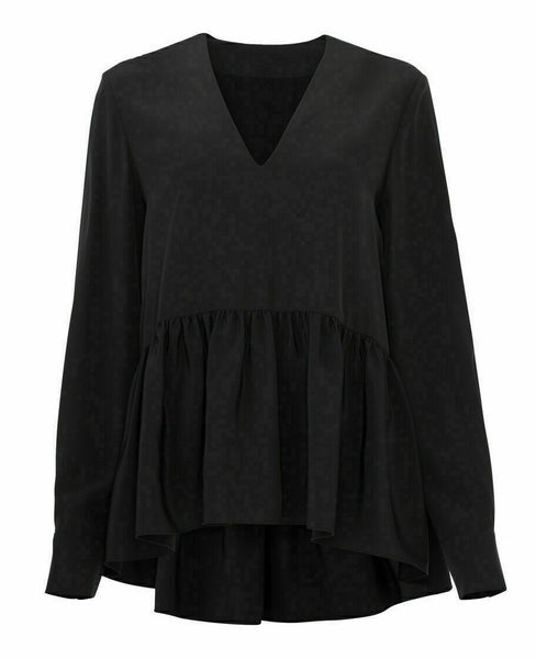 Blouse Vintage VNeck Peplum High-Low Tunic-