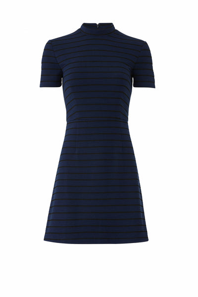 Dress ALine Striped Mock-Neck-