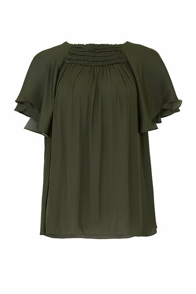Blouse Dark FlutterSleeves Ruffled-