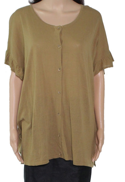 Top Olive Knit Button Front Ruffle