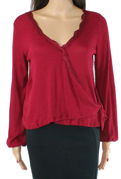 Top Burgundy Small Lace Trim Faux Wrap