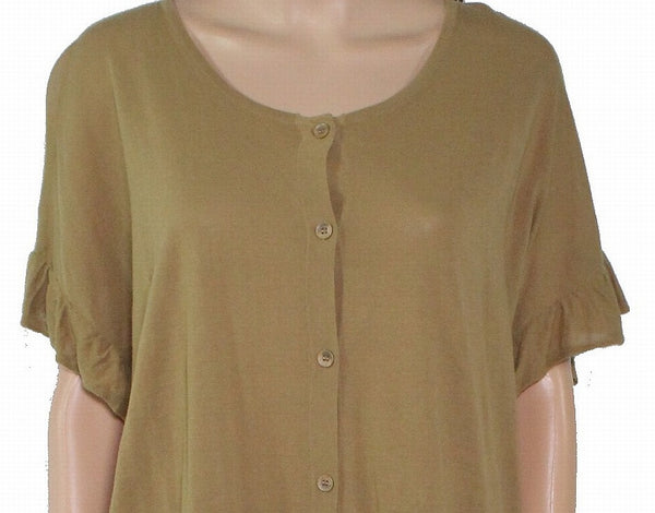 Top Olive Medium Knit Button Front Ruffle