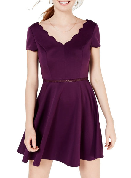 Purple Junior A-Line Dress Scallop Edge Fit & Flare $49-