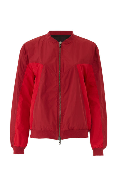 Jacket Red Full-Zip Colorblock Ribbed-