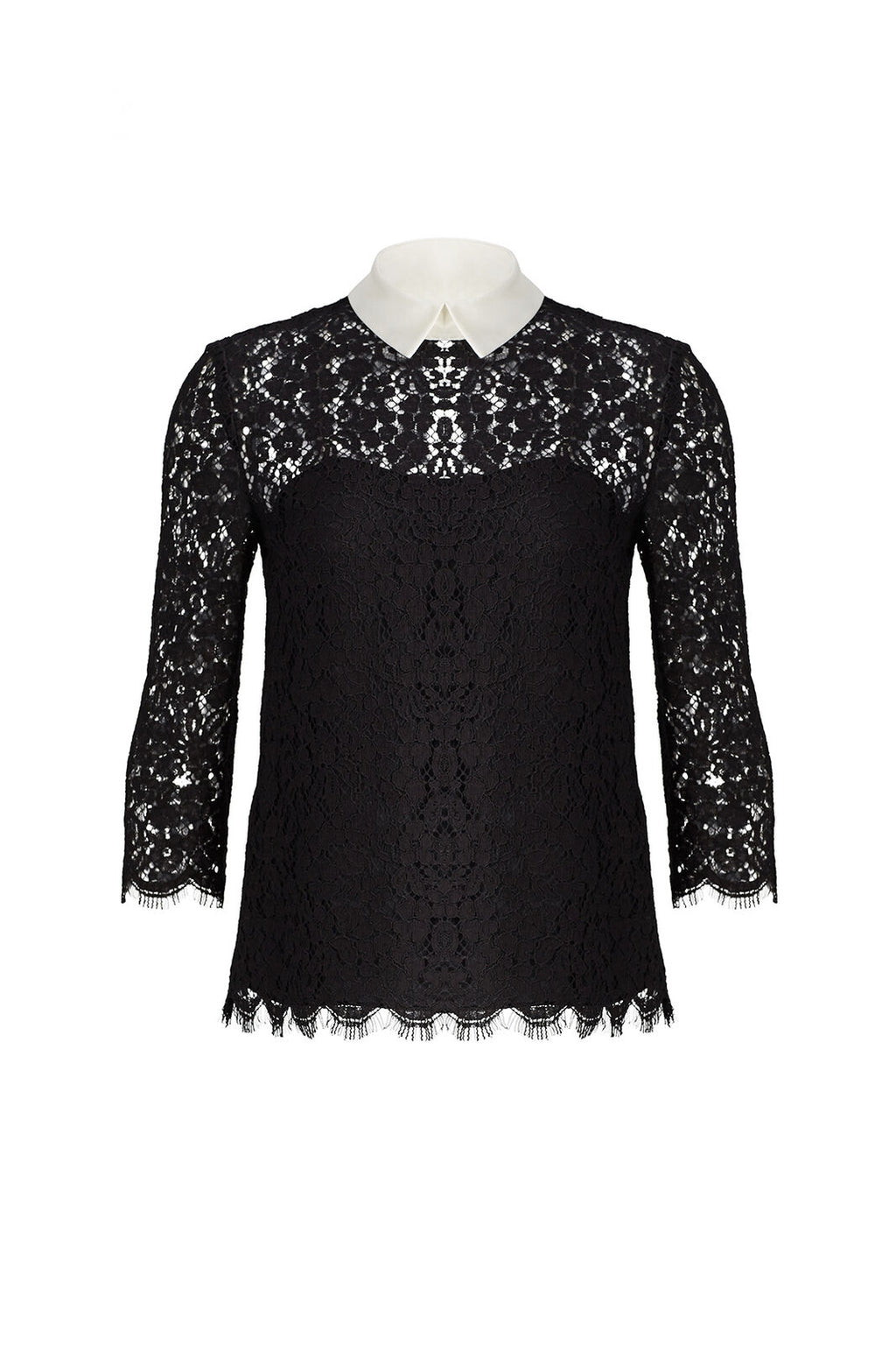 Black Blouse Floral Eyelash Lace Collar $345-