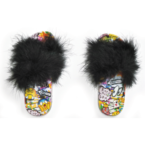 iscream- Emoji Graffitti Fur Slides