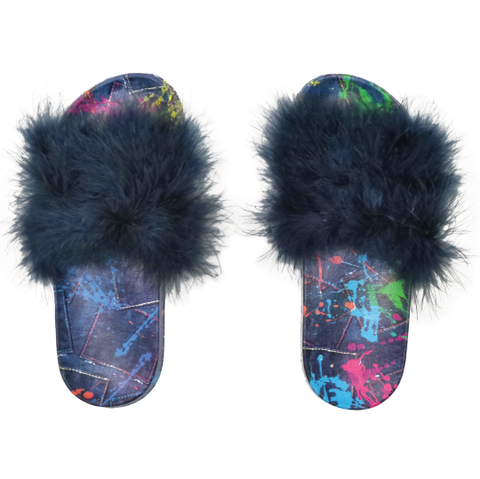 iscream- Paint Splatter Denim Fur Slides