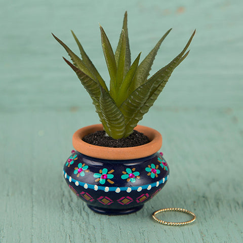 Natural Life - Navy & Pink Mini Succulent