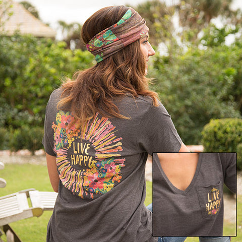 Natural Life - Live Happy V-Neck Tee