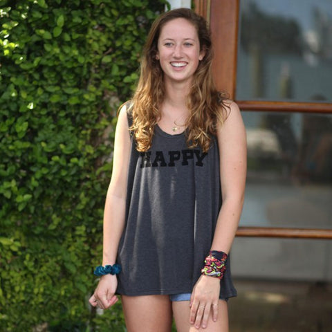 Natural Life Hangout Sleeveless Tee - Happy