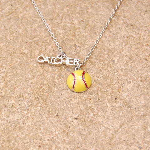 Gimmedat Softball Catcher Enamel Necklace