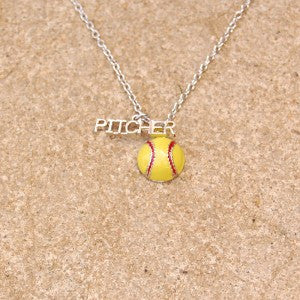 Gimmedat Softball Pitcher Enamel Necklace