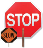 "18"" Reflective Stop/Slow Sign - Handheld Paddle"