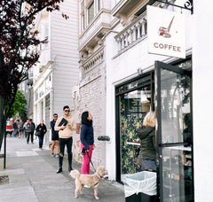 people lined up in front of our SF cafe