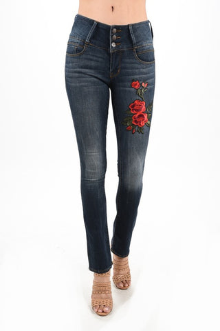 denim embroidered with stretch
