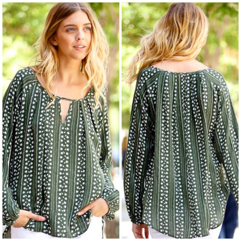 leaf green woven top