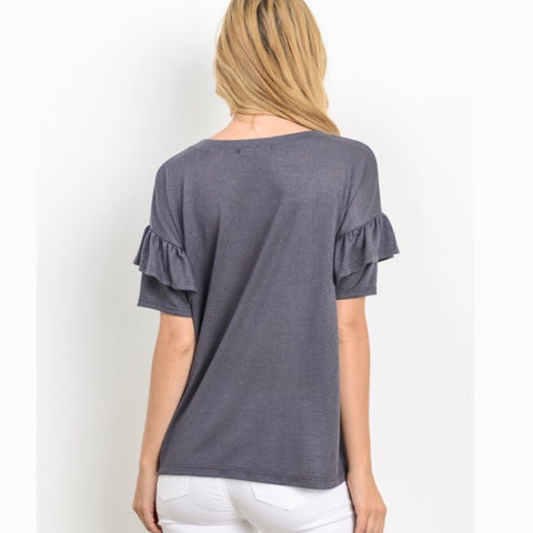 charcoal ruffle sleeved tee