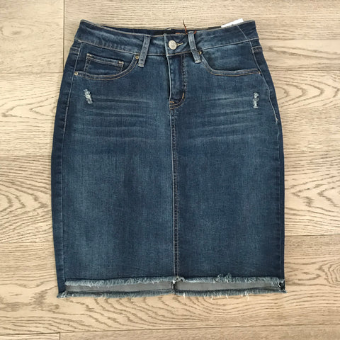 stretch denim frayed skirt