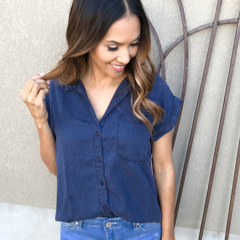 cuffed tencel top in navy