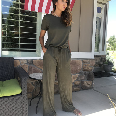 jumpsuit in olive