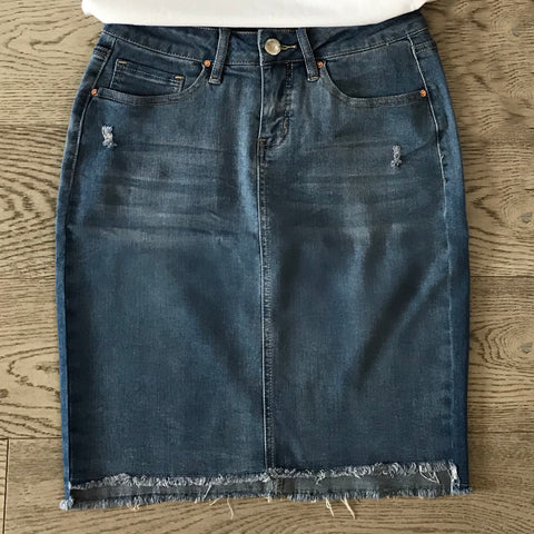stretch denim frayed skirt light wash
