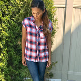 plaid button down