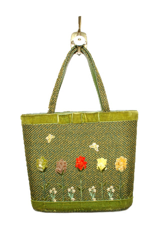 Adorable Olive Green, Woven Tote w/Velvet Trim and Flowers