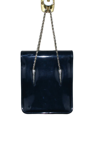 Navy Patent Leather Accordian Style Bag w/Pewter Detail