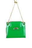 Kelly Green, Patent Leather Accordian Style w/ Gold Toned Accents