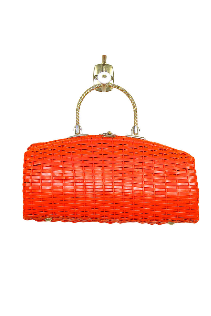 Tangerine Faux Leather Wicker w/Gold Rope Style Handle