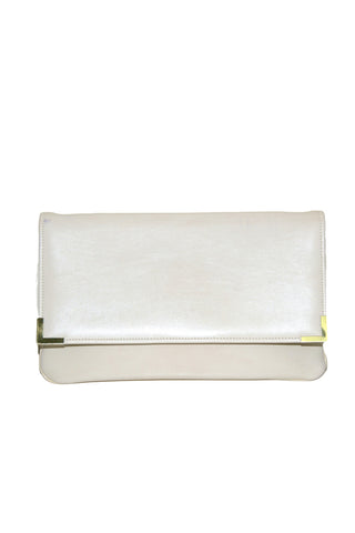 Ecru Faux Leather Clutch w/Brass Trim