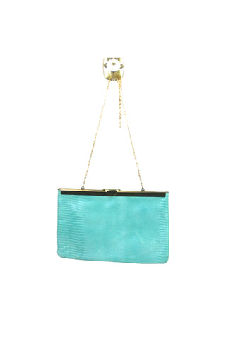Etra Turquoise Faux Snakeskin Clutch w/Chain